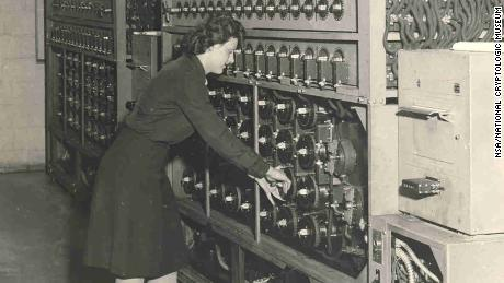 WAVES during WWII are shown at the Naval Communications Annex on Nebraska Avenue in Washington working with a Bombe machine. Intercepted German messages were run through the massive machines, allowing analysts to eventually break the code and decipher the message.