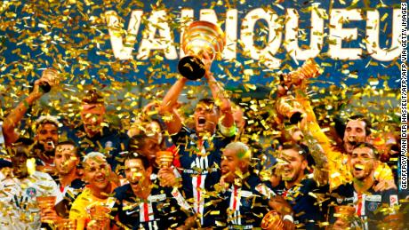 PSG celebrate winning the French League Cup at the Stade de France in Paris.