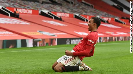 Greenwood celebrates scoring against Bournemouth at Old Trafford on July 4, 2020.