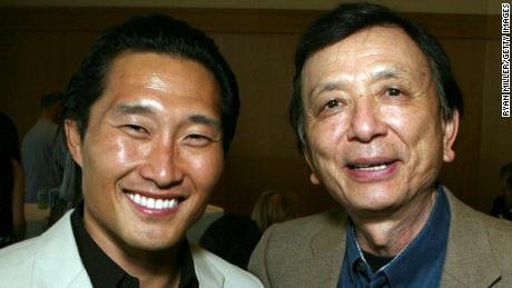 """Actor Daniel Dae Kim and Actor James Hong pose at the opening night party for the World Premiere of David Henry Hwang's """"Yellow Face"""" at CTG/Mark Taper Forum, May 20, 2007 in Los Angeles, California."""