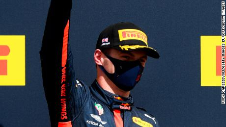 Max Verstappen celebrates after winning the 70th Anniversary Grand Prix at Silverstone.