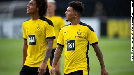 Jadon Sancho joined his Borussia Dortmund teammates in Switzerland on Monday.