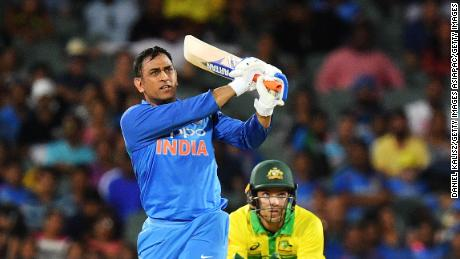 Dhoni bats during game two of the One Day International series against Australia.