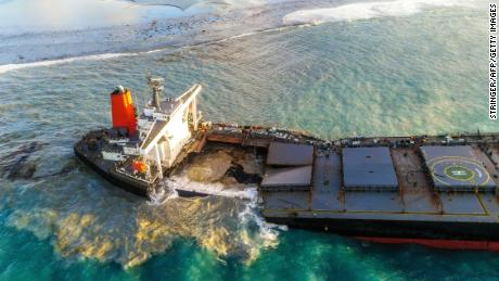 The MV Wakashio split on Saturday after weeks grounded in pristine waters off Mauritius.
