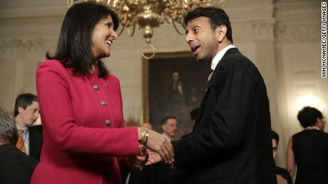 Republicans Nikki Haley and Bobby Jindal shake hands at the White House in 2015, when both were serving as governors.
