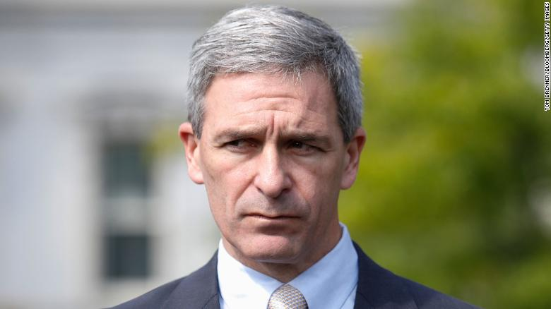 Ken Cuccinelli, acting director of U.S. Citizenship and Immigration Services (USCIS), pauses while speaking to members of the media following a television interview at the White House in Washington, D.C., U.S., on Tuesday, Sept. 10, 2019.