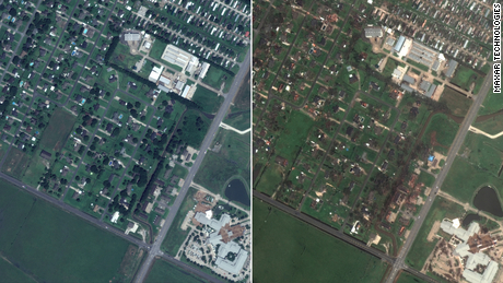 Before and after satellite images show widespread destruction from Hurricane Laura