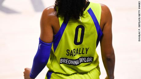 Detailed view of the back of the jersey of Satou Sabally #0 of the Dallas Wings showing the name of Breonna Taylor during the second quarter against the Phoenix Mercury at Feld Entertainment Center on August 10, 2020 in Palmetto, Florida.