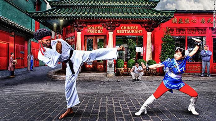 Hart dressed as the Street Fighter character Ryu with Marie-Laure Norindr, the first woman to win a pro-Street Fighter event, in 2012.