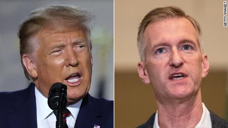 President Donald Trump (left) and Portland Mayor Ted Wheeler (right)