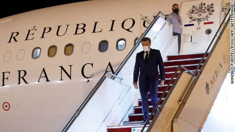 Macron arrives at Beirut International Airport on August 31, 2020.