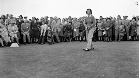 Zaharias drives off to the 15th tee during her semifinals match against Jean M. Donald at Gullane Links, Scotland in 1947.