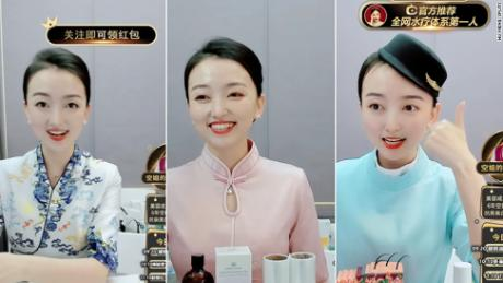 Meng Hu, a live-stream shopping host in Guangzhou, speaking to fans on Taobao Live. Hu quit her job this year to pursue her dream of becoming an online star.