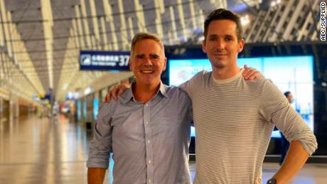 The Australian Financial Review's Michael Smith (left) and the ABC's Bill Birtles flew out of Shanghai.