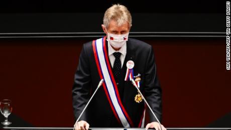Milos Vystrcil วิทยากรวุฒิสภาสาธารณรัฐเช็กกล่าวสุนทรพจน์ที่รัฐสภาในไทเปเมื่อวันที่ 1 กันยายน 2020