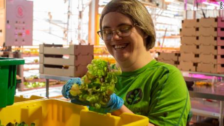 Michael Miller, a Vertical Harvest employee, is given the package Lettuce Sag to deliver vertical farm services in Jackson, Wyoming, one of four grocery stores.