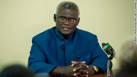 Manasseh Sogavare speaks at a press conference inside the Parliament House in Honiara, Solomons Islands on April 24, 2019.