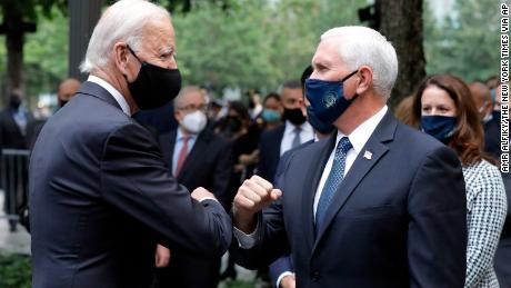 Former Vice President Joe Biden, the Domocratic presidential candidate, greets Vice President Mike Pence in New York on Friday.