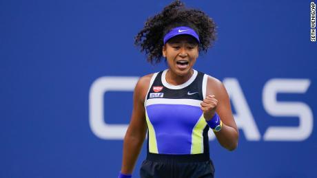 Naomi Osaka reacts during the US Open women's singles final against Victoria Azarenka on Saturday, September 12.