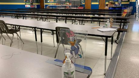 The dining table at Jensen Beach Elementary School in Martin County is labeled with numbers and Disney characters to encourage social distinction.