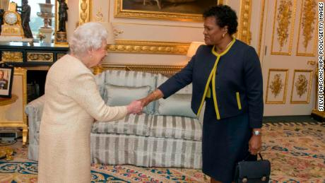 The Queen receives Governor-General of Barbados Sandra Mason during a private audience at Buckingham Palace in 2018.