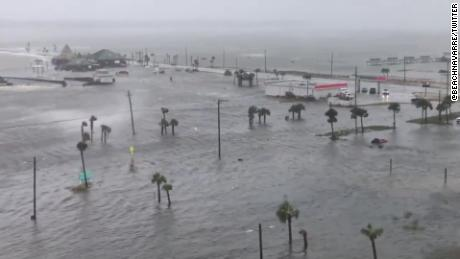 Flooding was severe in Navarre Beach, Florida.