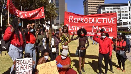 Abortion rights activists demonstrate in Windhoek, Namibia, on July 18.