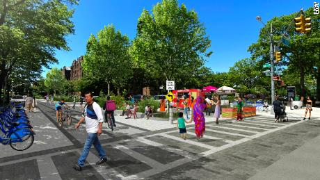 This rendering from Lyft shows how city streets could be redesigned to cater to modes other than cars.