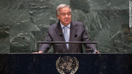 Guterres speaks during the 75th session of the United Nations General Assembly, Tuesday, Sept. 22, 2020.