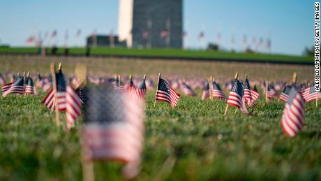 A memorial for people who died as a result of Covid-19 is seen on the National Mall in September 2020 in Washington, DC.