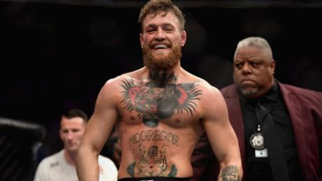 McGregor smiles after his fight in the UFC.