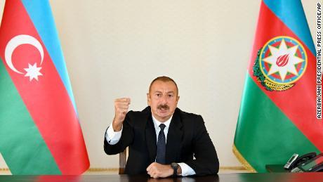 Azerbaijani President Ilham Aliyev speaks to the nation from the nation's capital of Baku.