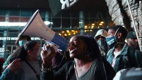 Black Lives Matter protesters in Brooklyn demand justice for Breonna Taylor on Saturday.