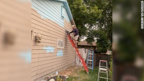The house was painted Saturday.