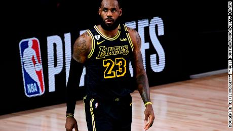 LeBron James reacts during the second quarter against the Houston Rockets in game two of the Western Conference second round during the 2020 NBA Playoffs.