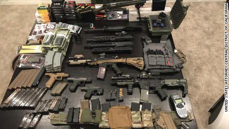Police say they found these weapons and items in Hung's truck.