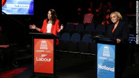 The leaders' debate featuring NZ Prime Minister Jacinda Ardern (left) and Leader of the National Party Judith Collins in Auckland on Wednesday, September 30.