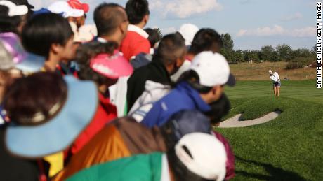 ลียิงเข้าใกล้ในวันที่สี่ของการแข่งขัน Reignwood LPGA Classic ปี 2014 ที่ปักกิ่งประเทศจีน