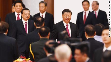 ประธานาธิบดีสีจิ้นผิงของจีนเดินทางมาเพื่อต้อนรับที่ Great Hall of the People ในวันชาติจีนในวันที่ 30 กันยายน