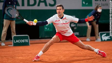 Djokovic in action against Carreno Busta.