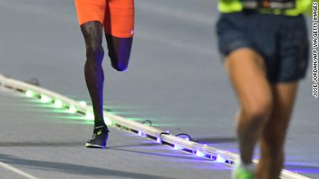 The Wavelight technology helps athletes pace themselves against the previous record.