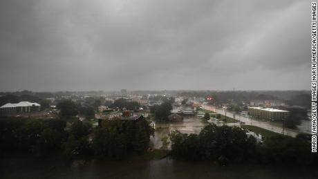 Rain from Hurricane Delta pours on Lafayette, Louisiana, on Friday, on October 9.