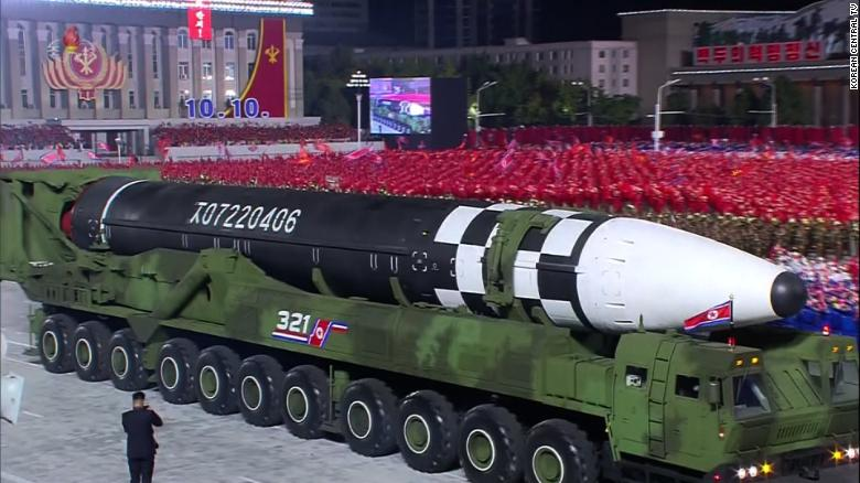 A massive mobile intercontinental ballistic missile introduced at an October, 2020 military parade is North Korea's biggest.