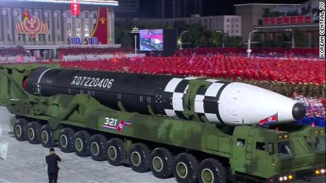 North Korea unveiled what analysts believe to be the world's largest liquid-fueled intercontinental ballistic missile at a parade in Pyongyang early Saturday.