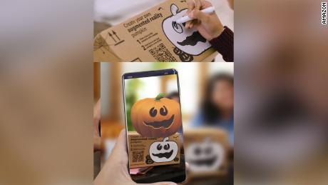 Shoppers can draw on pumpkins and use Amazon's AR app for some fun.