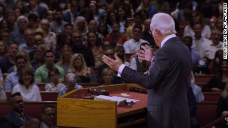 Pastor John MacArthur speaking at his California church in August. CNN has blurred a portion of this image to protect a child's identity.
