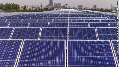 Solar panels on the roof of the Yamaha Motor Co. plant in Surajpur, Uttar Pradesh, India. India is rapidly investing in solar and could become the largest market for utility-scale battery storage by 2040, according to the IEA.