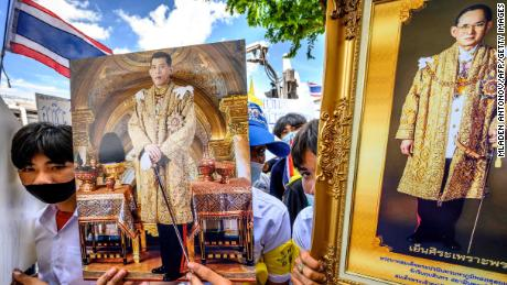 During a pro-government and pro-monarchy rally in Bangkok on July 30, 2020, protesters held portraits of King Maha Vajirlongkorn of Thailand and his late father, King Bhumibol Adulyadej.