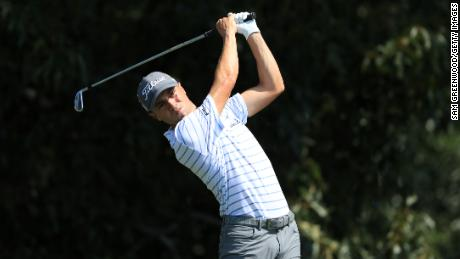 Thomas plays his shot from the third tee during the third round of the TOUR Championship on September 6, 2020.