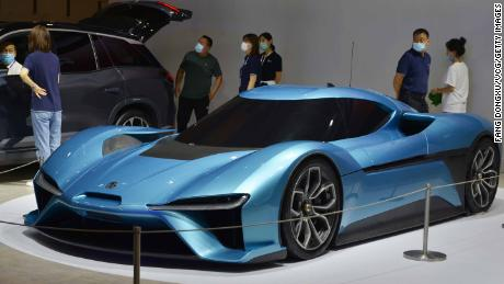 A NIOEP9 sports car on display during the China (Nanjing) International Auto Expo in July.